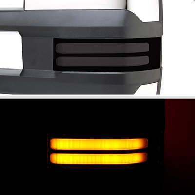 GMC Yukon 2007-2014 Chrome Power Folding Tow Mirrors Smoked LED DRL