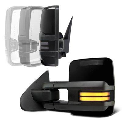 Chevy Silverado 2500HD 2007-2014 Glossy Black Power Folding Tow Mirrors Smoked LED DRL