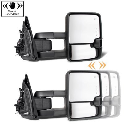 Chevy Silverado 2007-2013 Glossy Black Power Folding Tow Mirrors Smoked LED DRL