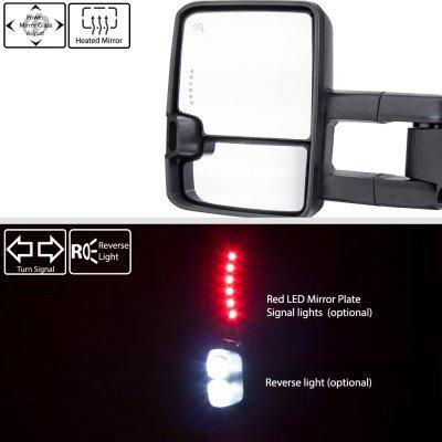 Chevy Silverado 2007-2013 Glossy Black Power Folding Tow Mirrors Smoked LED DRL