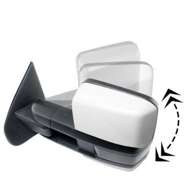 GMC Sierra 2007-2013 White Power Folding Tow Mirrors Smoked LED DRL