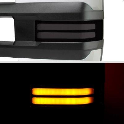 Chevy Suburban 2007-2014 White Power Folding Tow Mirrors Smoked LED DRL