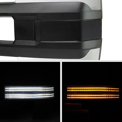 Ford F250 Super Duty 1999-2007 White Tow Mirrors Smoked Switchback LED DRL Sequential Signal