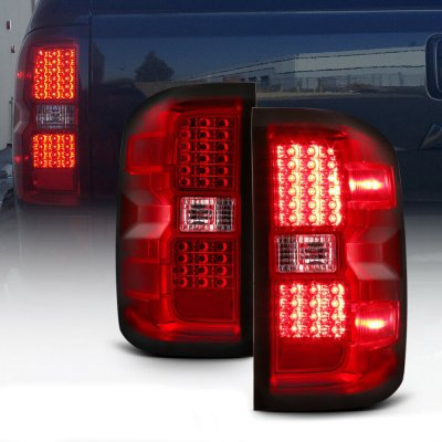 Chevy Silverado 2014-2018 Red Clear LED Tail Lights