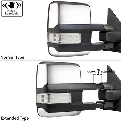 Ford F250 Super Duty 2008-2016 Chrome Tow Mirrors Clear LED Lights Power Heated