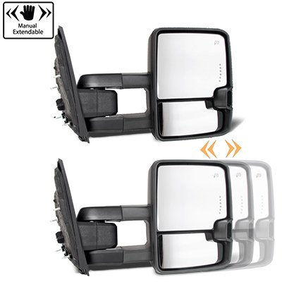Ford F250 Super Duty 1999-2007 Chrome Tow Mirrors Clear LED Lights Power Heated