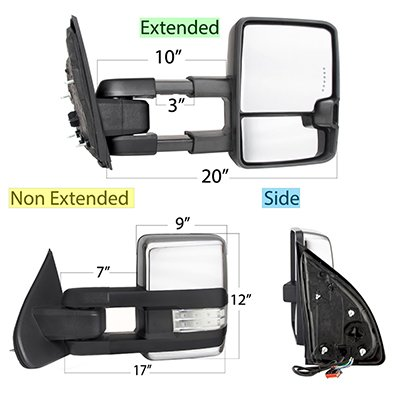 Ford F550 Super Duty 1999-2007 Chrome Tow Mirrors Clear LED Lights Power Heated
