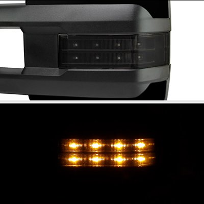 Ford F250 Super Duty 2008-2016 Glossy Black Tow Mirrors Smoked LED Lights Power Heated