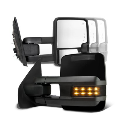 Ford F250 Super Duty 1999-2007 Glossy Black Tow Mirrors Smoked LED Lights Power Heated