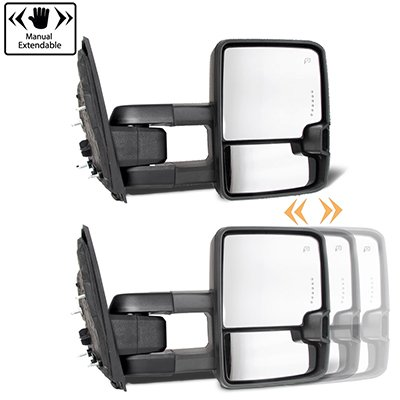 Ford F550 Super Duty 2008-2016 Glossy Black Tow Mirrors Smoked Switchback LED DRL Sequential Signal