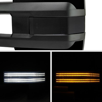 Ford F250 Super Duty 2008-2016 Glossy Black Tow Mirrors Smoked Switchback LED DRL Sequential Signal