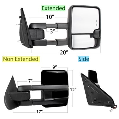 Ford F250 Super Duty 1999-2007 Glossy Black Tow Mirrors Smoked Switchback LED DRL Sequential Signal
