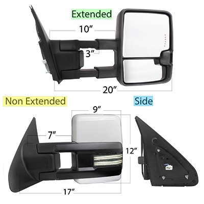 Toyota Tundra 2007-2020 White Power Folding Tow Mirrors Smoked Switchback LED DRL Sequential Signal