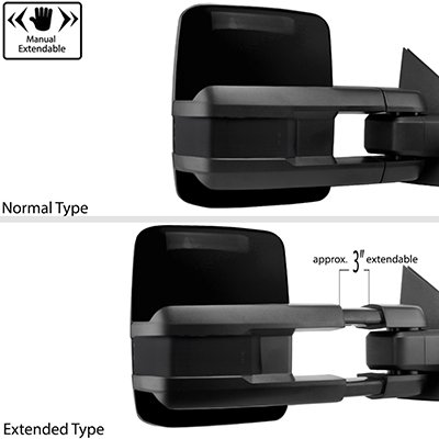 Toyota Tundra 2007-2020 Glossy Black Power Folding Tow Mirrors Smoked Switchback LED DRL Sequential Signal
