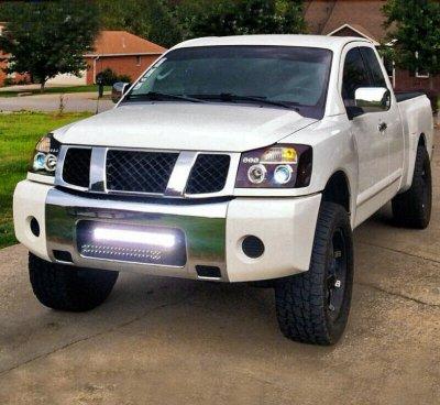 Nissan Titan 2004-2015 Black Dual Halo Projector Headlights with LED