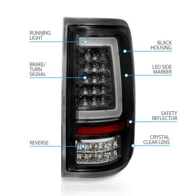 Ford F150 2004-2008 Black LED Tail Lights Tube