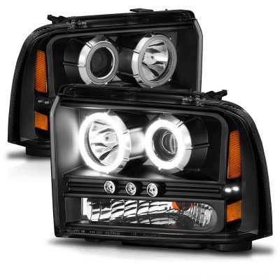Ford F550 Super Duty 2005-2007 Black Projector Headlights with Halo and LED