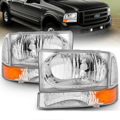 Ford F250 Super Duty 1999-2004 Crystal Headlights and Corner Lights Chrome