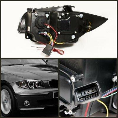 BMW 128i 2008-2013 E82 E88 Black Dual Halo Projector Headlights