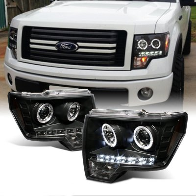 Ford F150 2009-2014 Black Dual Halo Projector Headlights LED DRL