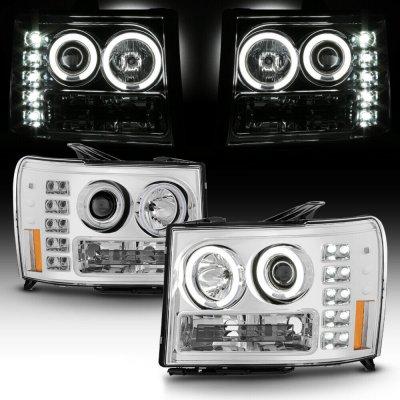 GMC Sierra 3500HD 2007-2013 Clear Dual Halo Projector Headlights with LED
