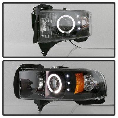 Dodge Ram 1994-2001 Black Halo Projector Headlights with LED