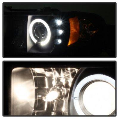 Dodge Ram 2500 1994-2002 Black Halo Projector Headlights with LED