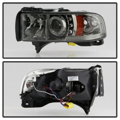 Dodge Ram 1994-2001 Smoked Halo Projector Headlights with LED