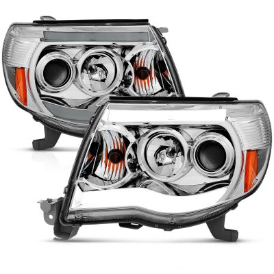 Toyota Tacoma 2005-2011 Clear Projector Headlights Halo LED Tube