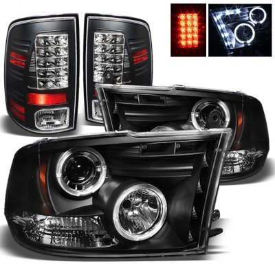 Dodge Ram 2500 2013-2018 Black Projector Headlights and LED Tail Lights for Premium