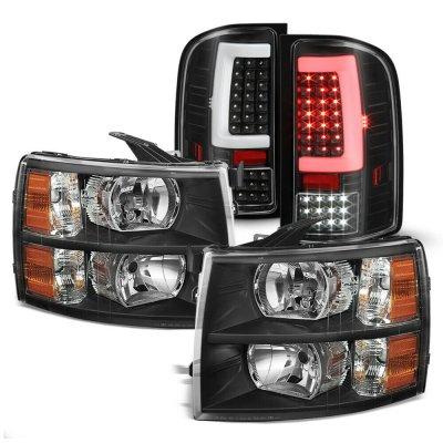 Chevy Silverado 2500HD 2007-2014 Black Headlights and LED Tail Lights Tube