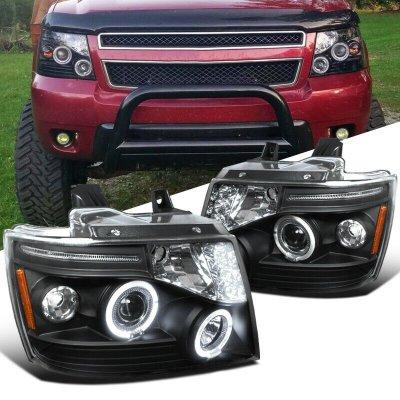 Chevy Suburban 2007-2014 Black Halo Projector Headlights LED Eyebrow