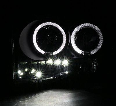 Dodge Ram 2002-2005 Black Dual Halo Projector Headlights with LED