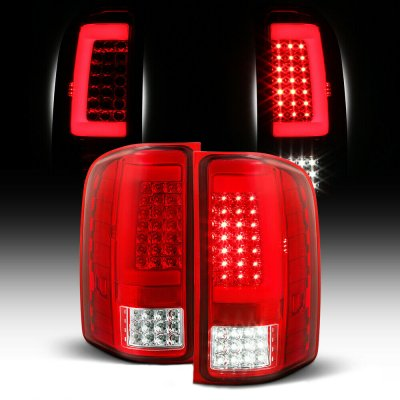 Chevy Silverado 2007-2013 Red and Clear LED Tail Lights