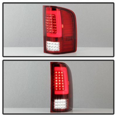 Chevy Silverado 2500HD 2007-2014 Red and Clear LED Tail Lights Tube