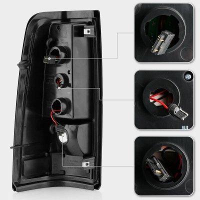 Chevy Silverado 2500HD 2003-2006 Black LED Tube Tail Lights