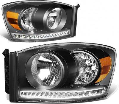Dodge Ram 2500 2006-2009 Black Euro Headlights LED DRL