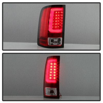 GMC Sierra 2007-2013 Red and Clear LED Tail Lights Tube
