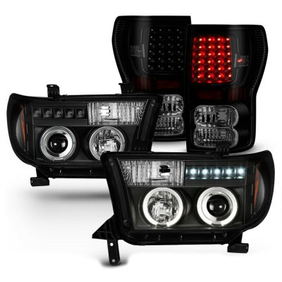 Toyota Tundra 2007-2013 Black Projector Headlights and LED Tail Lights