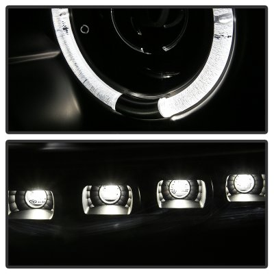 Ford F250 2011-2016 Black LED Halo Projector Headlights  DRL