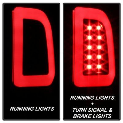 Ford F250 Super Duty 1999-2007 Black LED Tail Lights Tube