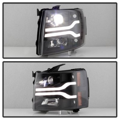 Chevy Silverado 2007-2013 Black LED Low Beam Projector Headlights Facelift DRL