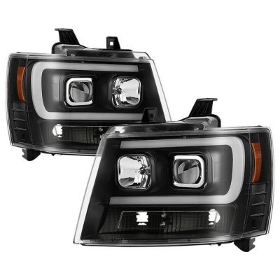 Chevy Suburban 2007-2014 Black Projector Headlights LED DRL