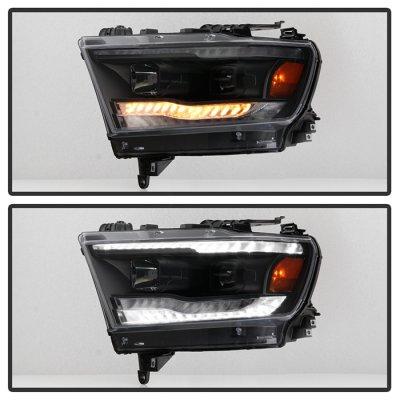 Dodge Ram 1500 2019-2021 Black Projector Headlights LED DRL Dynamic Signal