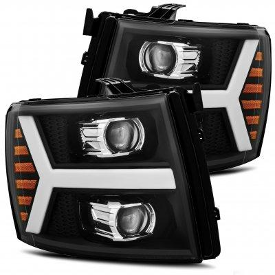 Chevy Silverado 2007-2013 Black Projector Headlights LED DRL Dynamic Signal Activation
