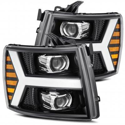 Chevy Silverado 2500HD 2007-2014 Glossy Black Projector Headlights LED DRL Dynamic Signal Activation