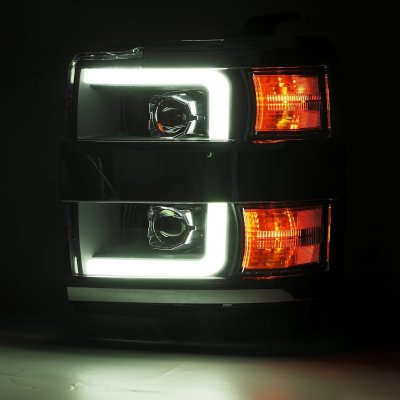 Chevy Silverado 2500HD 2015-2019 Glossy Black Projector Headlights LED DRL Activation