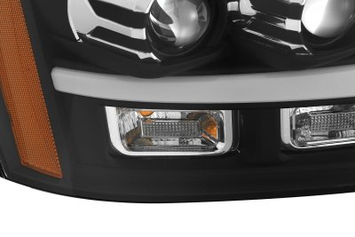 Chevy Suburban 2007-2014 Black Projector Headlights LED DRL Activation