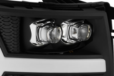 Chevy Silverado 2500HD 2007-2014 Black LED Quad Projector Headlights DRL Dynamic Signal Activation