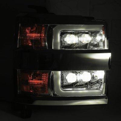 Chevy Silverado 2500HD 2015-2019 Glossy Black LED Quad Projector Headlights DRL Activation